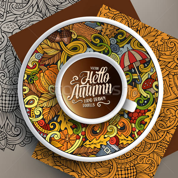 Cup of coffee and Autumn doodles Stock photo © balabolka