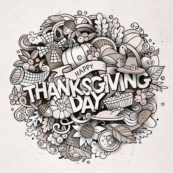 Cartoon cute doodles hand drawn Thanksgiving inscription Stock photo © balabolka