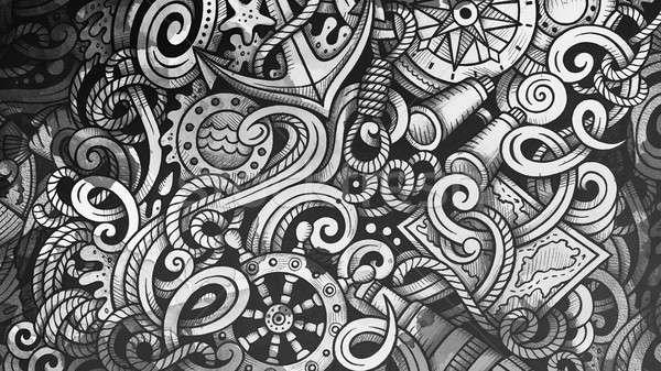 Garabatos náutico ilustración creativa marinos elegante Foto stock © balabolka