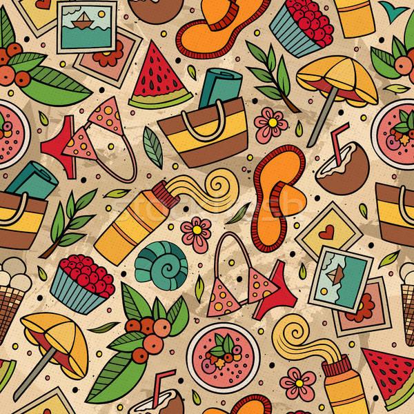 Foto stock: Desenho · animado · verão · tempo · colorido · detalhado