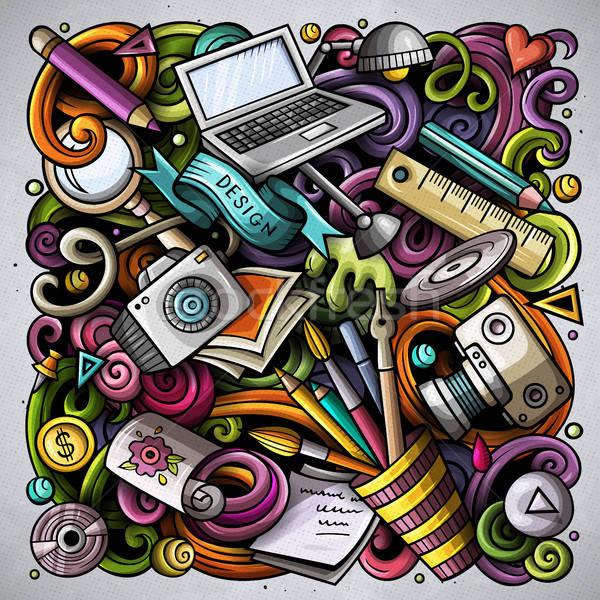 Rajz vektor firkák művészet terv illusztráció Stock fotó © balabolka