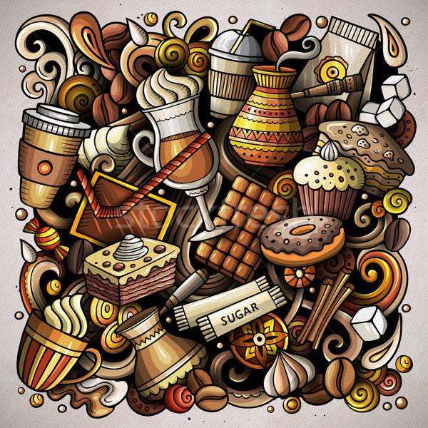 Rajz vektor firkák kávéház illusztráció színes Stock fotó © balabolka