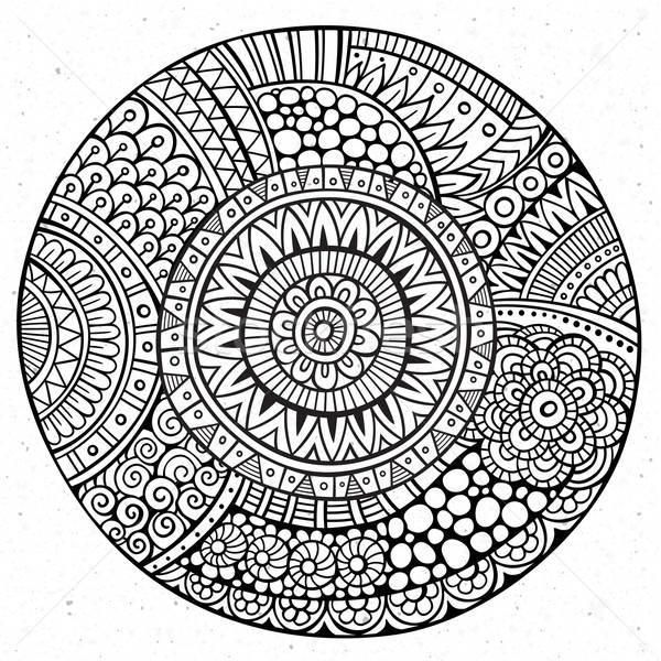 向量 裝飾的 手工繪製 圓 素描 花 商業照片 © balabolka