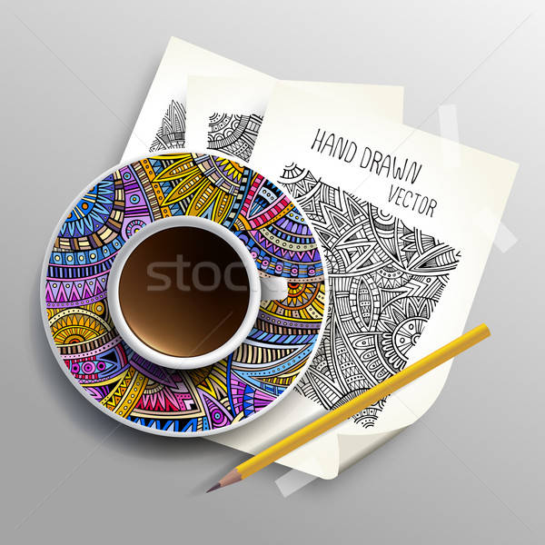 Coffee cup on sketches concept idea Stock photo © balabolka