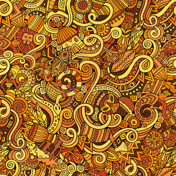 Stock fotó: Rajz · firkák · Afrika · stílus · végtelen · minta · színes