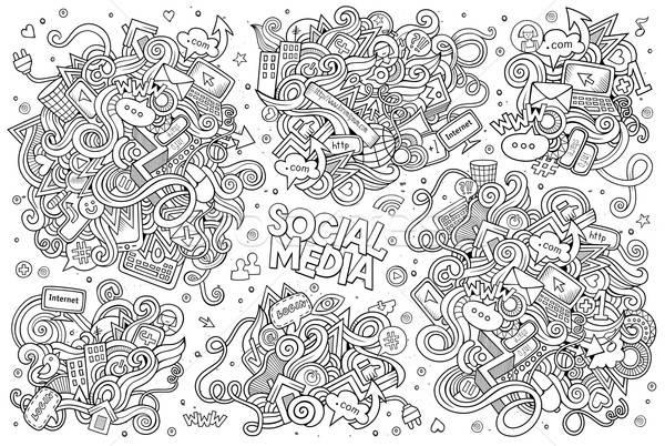 Vázlatos vektor kézzel rajzolt firka rajz szett Stock fotó © balabolka