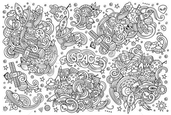 Sketchy vector hand drawn doodles cartoon set of Space objects Stock photo © balabolka