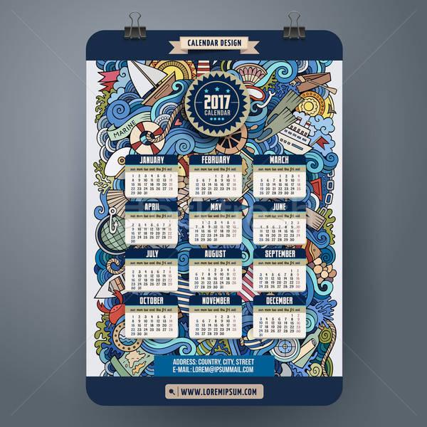 Firkák rajz tengerészeti tengeri naptár év Stock fotó © balabolka