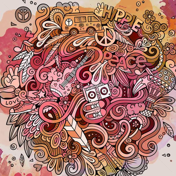 Desenho animado hippie ilustração vintage aquarela Foto stock © balabolka