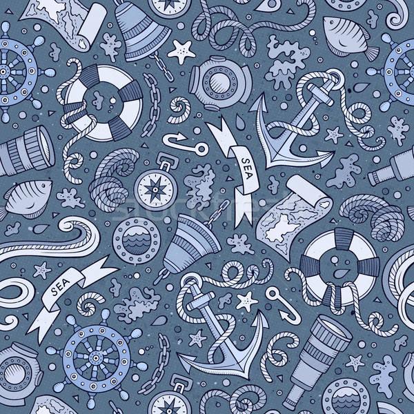Cartoon náutico cute dibujado a mano marinos Foto stock © balabolka