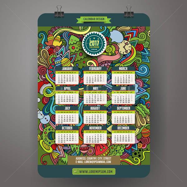 Desenho animado ano calendário modelo colorido Foto stock © balabolka