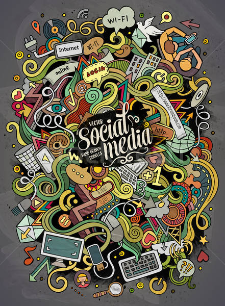 Cartoon cute doodles hand drawn social media illustration. Stock photo © balabolka