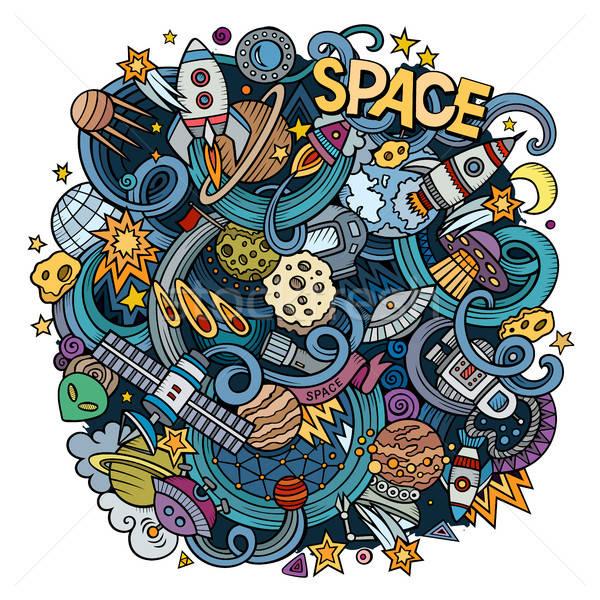 Cartoon hand-drawn doodles Space illustration Stock photo © balabolka