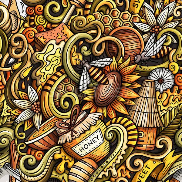Cartoon cute doodles hand drawn Honey seamless pattern Stock photo © balabolka