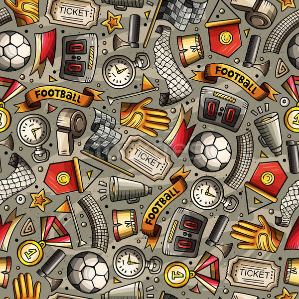 Cartoon hand-drawn Soccer seamless pattern Stock photo © balabolka