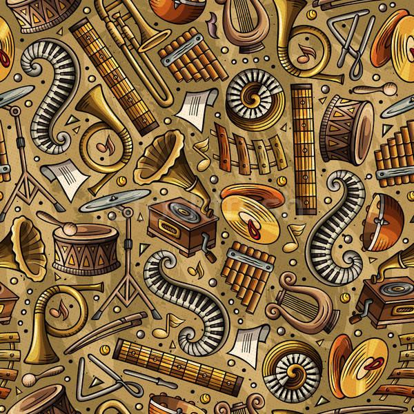 Stock fotó: Rajz · klasszikus · zene · végtelen · minta · szimbólumok · tárgyak