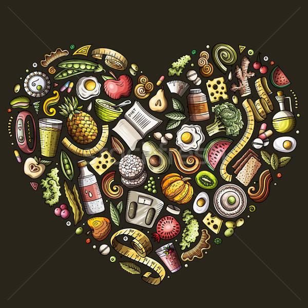 Stock fotó: Szett · vektor · rajz · firka · diéta · étel