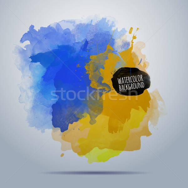 向量 水彩畫 畫 抽象 藍色 黃色 商業照片 © balabolka