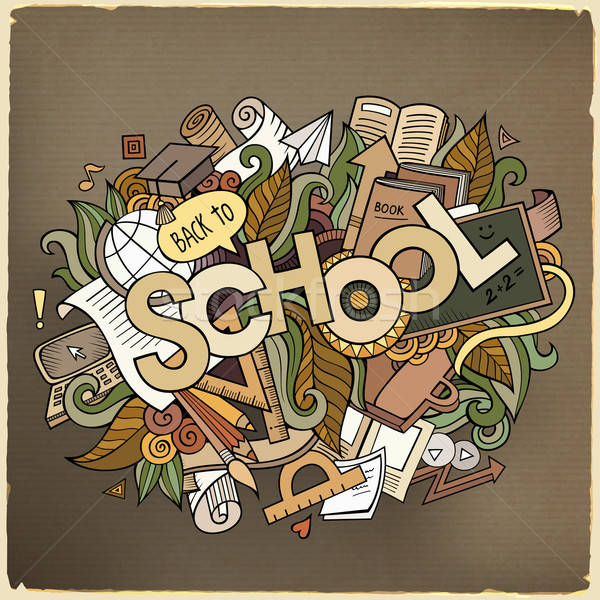 School hand lettering and doodles elements Stock photo © balabolka