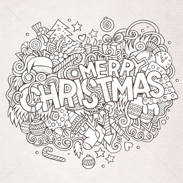 Merry Christmas hand lettering and doodles elements background Stock photo © balabolka