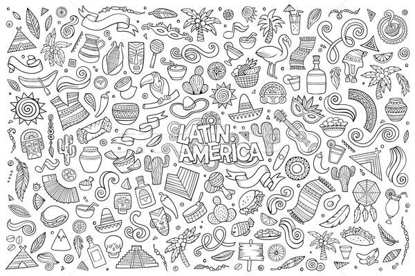 Sketchy vector hand drawn Doodle Latin American objects Stock photo © balabolka