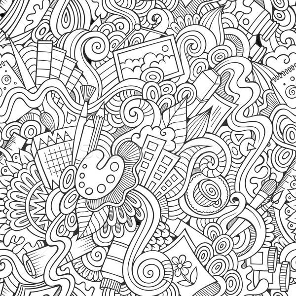 Cartoon vector sketchy doodles hand drawn art and craft seamless Stock photo © balabolka