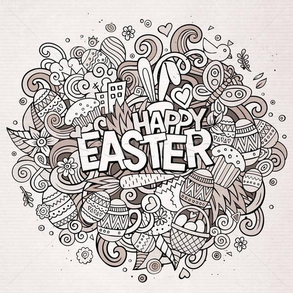 Cartoon vector hand drawn Doodle Happy Easter illustration Stock photo © balabolka