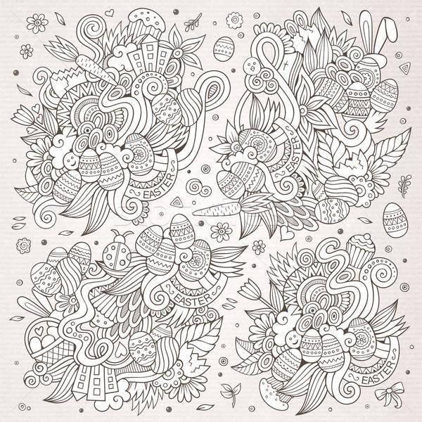 Sketchy doodles cartoon set of Easter objects  Stock photo © balabolka