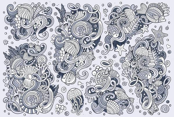 Line art set of marine life objects Stock photo © balabolka