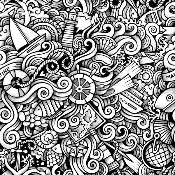 Rajz kézzel rajzolt tengerészeti tengeri firkák végtelen minta Stock fotó © balabolka