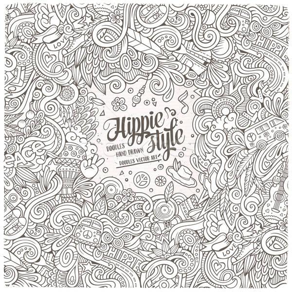 Cartoon hand drawn doodles hippie illustration. Colorful detaile Stock photo © balabolka