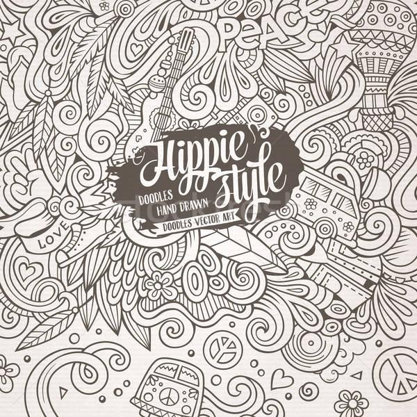 Cartoon scarabocchi hippie illustrazione line arte Foto d'archivio © balabolka