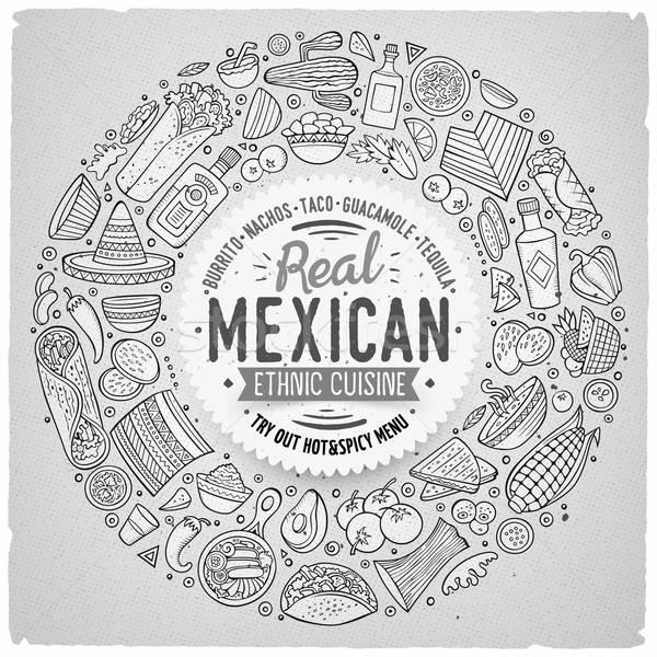 Zestaw meksykańskie jedzenie cartoon gryzmolić obiektów symbolika Zdjęcia stock © balabolka