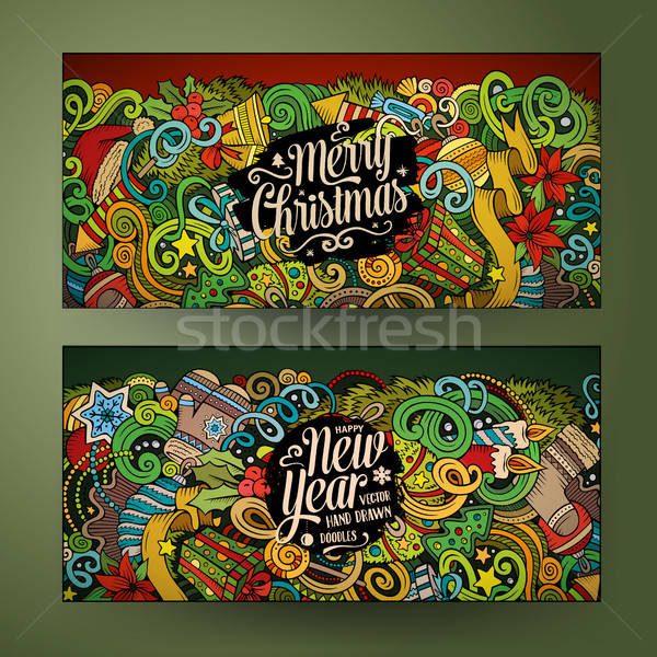 Cartoon doodles New Year holidays banners Stock photo © balabolka