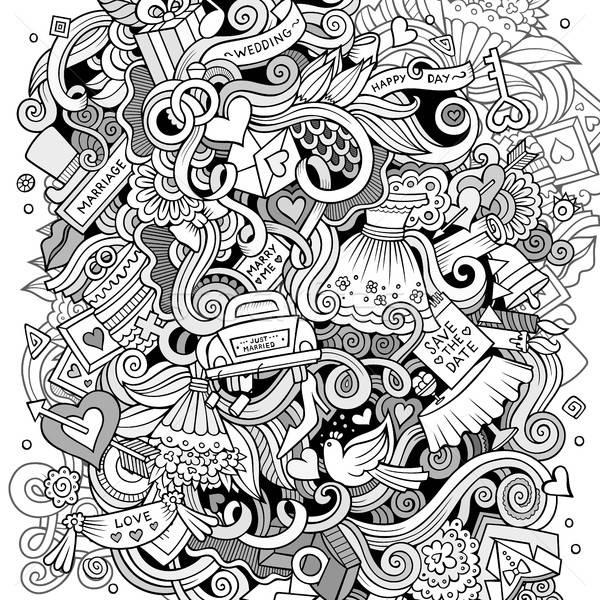 Cartoon cute doodles hand drawn wedding illustration Stock photo © balabolka