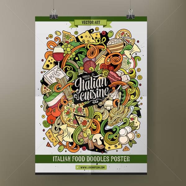 Karikatür karalamalar İtalyan gıda poster şablon Stok fotoğraf © balabolka