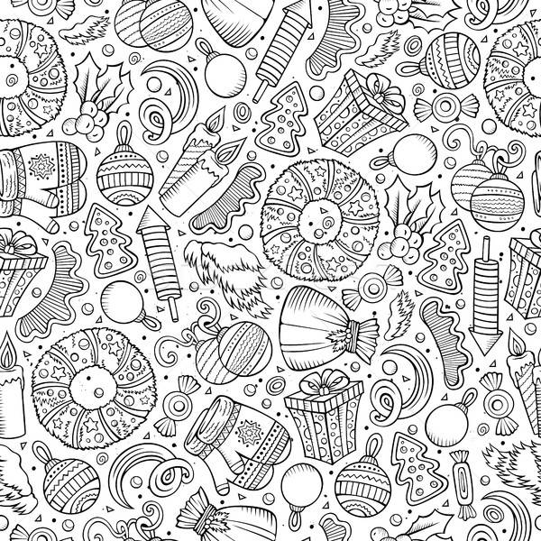 Cartoon cute hand drawn Xmass seamless pattern Stock photo © balabolka