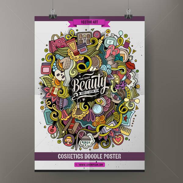 Cartoon doodles Cosmetic poster Stock photo © balabolka