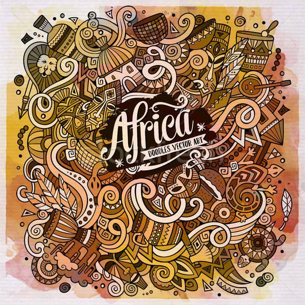 漫畫 可愛 塗鴉 非洲 插圖 手工繪製 商業照片 © balabolka