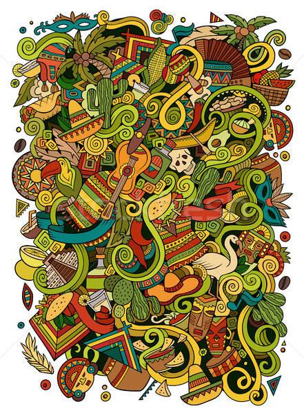 Cartoon garabatos americano ilustración detallado objetos Foto stock © balabolka
