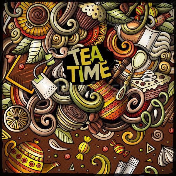 Cartoon doodles of cafe, coffee shop border Stock photo © balabolka