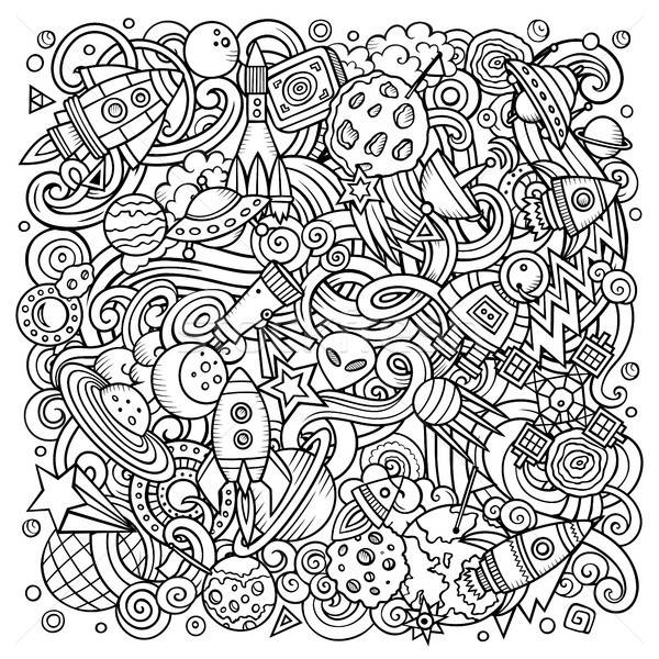 Stok fotoğraf: Karikatür · vektör · karalamalar · uzay · örnek · hat