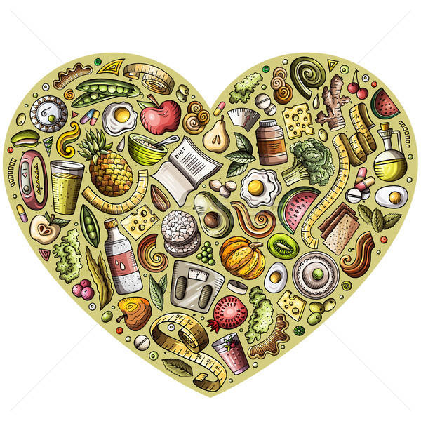 Set of vector cartoon doodle Diet food objects collected in a heart Stock photo © balabolka