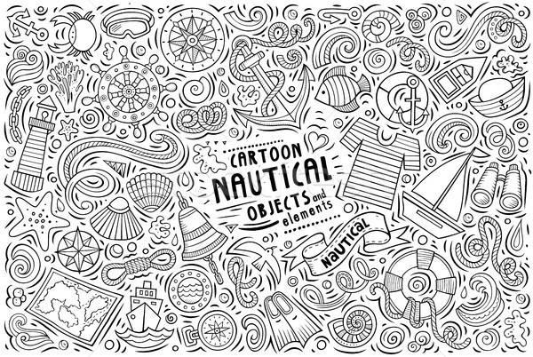 Vektor firka rajz szett tengerészeti tárgyak Stock fotó © balabolka