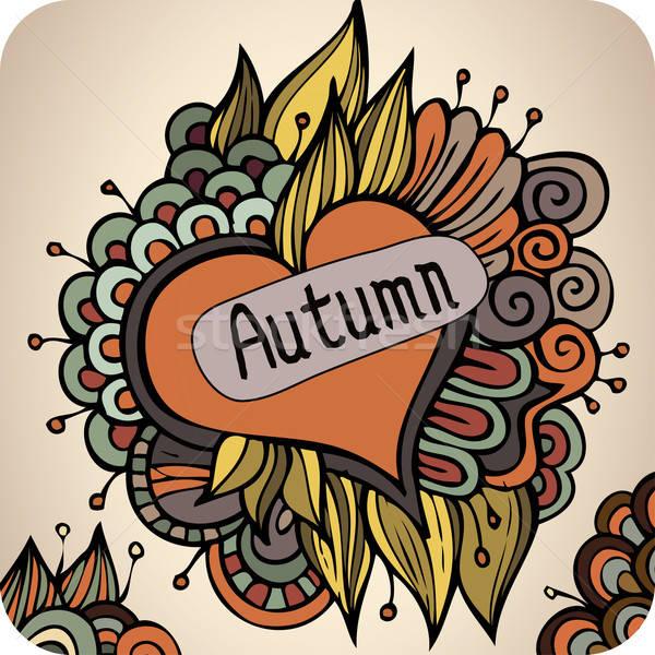 Vector autumn floral card design Stock photo © balabolka