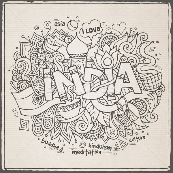 India hand lettering and doodles elements background Stock photo © balabolka