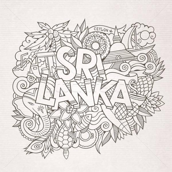 Sri Lanka vidék kéz firkák elemek szimbólumok Stock fotó © balabolka