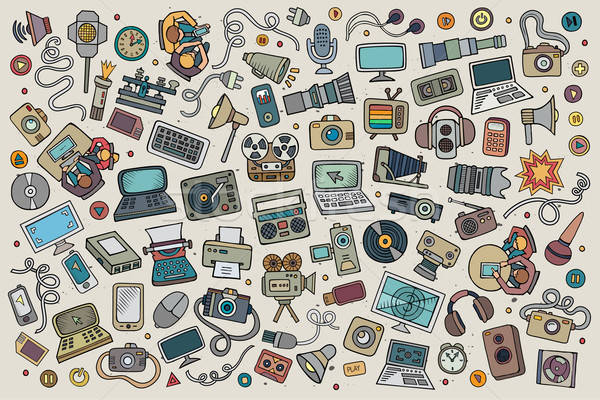 Color vector hand drawn Doodle set equipment and devices objects Stock photo © balabolka