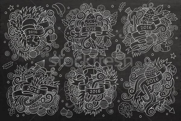 New year doodles cartoon hand drawn designs set. Vector cha Stock photo © balabolka