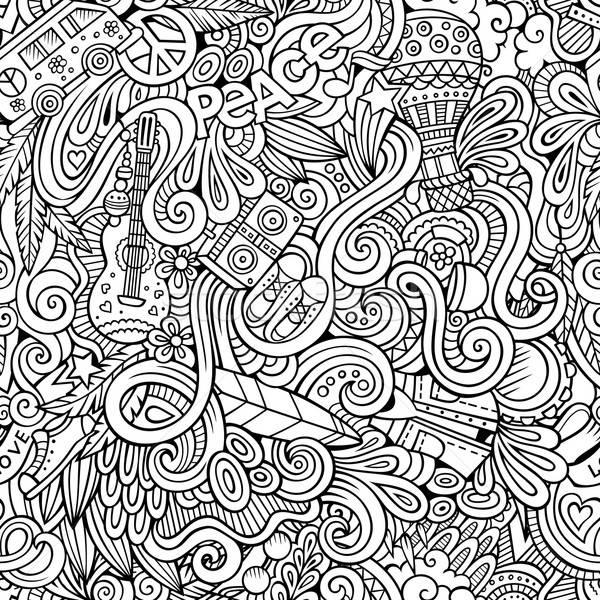 Cartoon garabatos hippie estilo Foto stock © balabolka